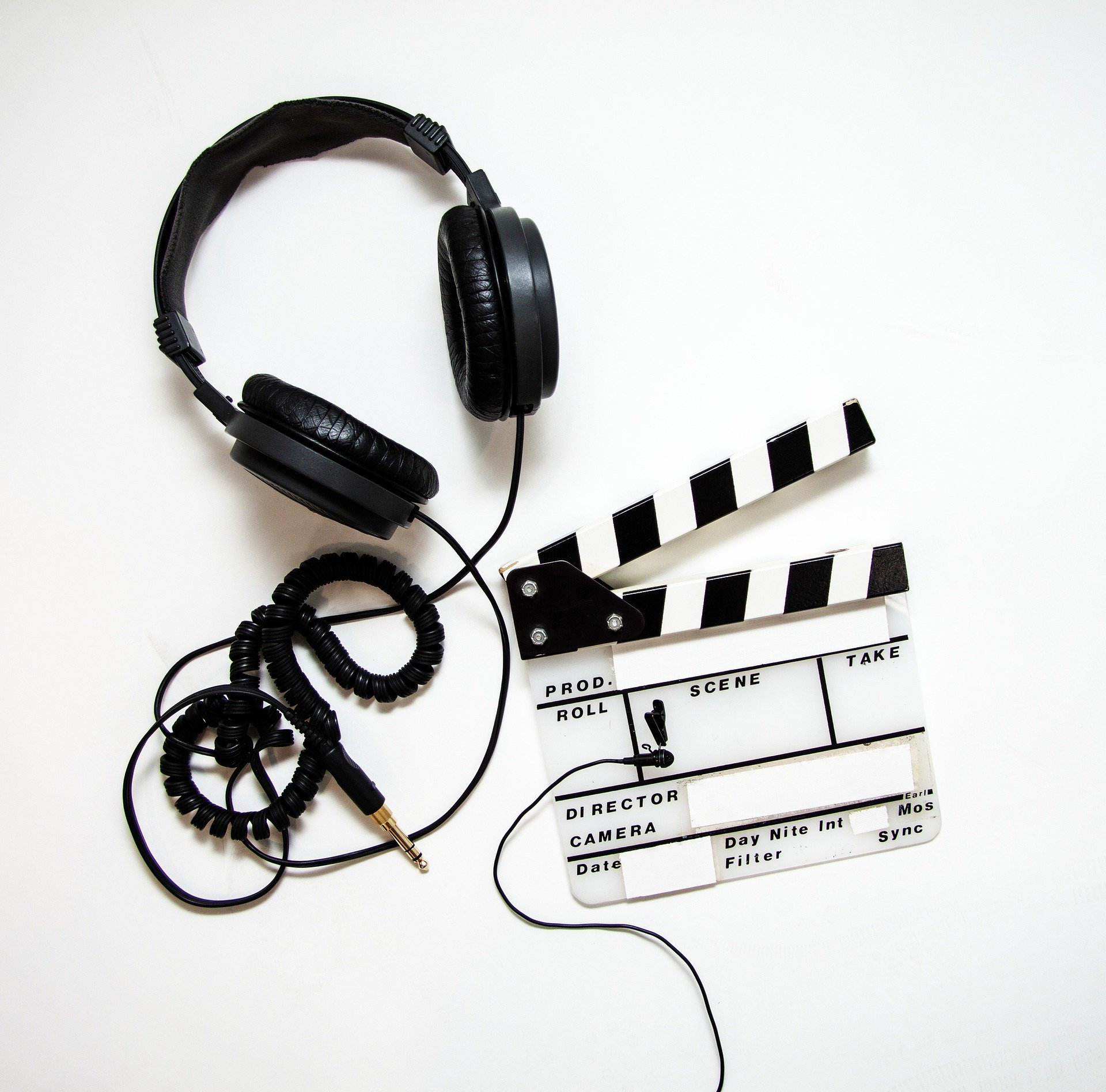 Clapper board and headphones