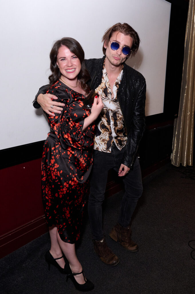 Emma Riches accepts Best Music Award for NoGoLand from Elijah Rowen © Alan West